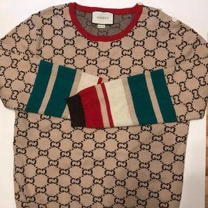 Gucci Monogram Intarsia Brown Sweater